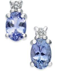 Macy's - Tanzanite (1 Ct. T.w.) & Diamond Accent Stud Earrings In 14k White Gold - Lyst