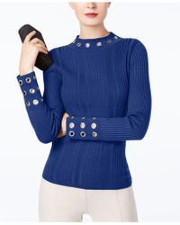 INC International Concepts - I.n.c. Ribbed-knit Mock-neck Grommet Sweater, Created For Macy's - Lyst