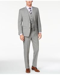 Michael Kors - Classic-fit Gray/purple Glen Plaid Vested Suit - Lyst