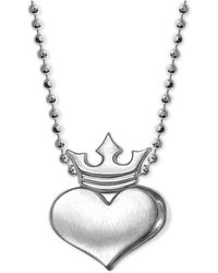 Alex Woo - Heart And Crown Pendant Necklace In Sterling Silver - Lyst
