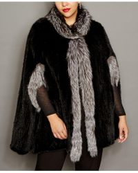 ad1d4d17407 Lyst - The Fur Vault Fox-fur-trim Hooded Mink Fur Coat in Black