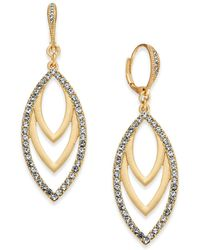 INC International Concepts - I.n.c. Gold-tone Pavé Navette Drop Earrings, Created For Macy's - Lyst