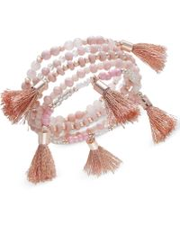 INC International Concepts - Rose Gold-tone Beaded Tassel Stretch Bracelet, Created For Macy's - Lyst