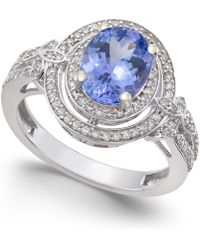 Macy's - Tanzanite (1-3/4 Ct. T.w.) And Diamond (2/5 Ct. T.w.) Ring In 14k White Gold - Lyst