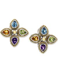 Effy Collection - Effy® Multi-gemstone Stud Earrings (2-1/2 Ct. T.w.) In Sterling Silver & 18k Gold - Lyst