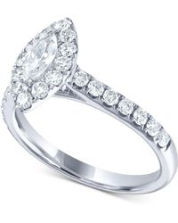 Macy's - Diamond Marquise Halo Engagement Ring (1 Ct. T.w.) In 14k White Gold - Lyst