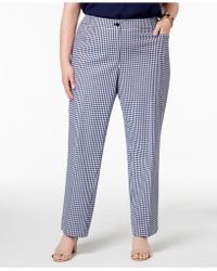 Anne Klein - Plus Size Gingham Check Straight-leg Pants - Lyst