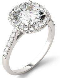 Charles & Colvard - Moissanite Cushion Halo Ring (2-7/8 Ct. Tw.) In 14k White Gold - Lyst