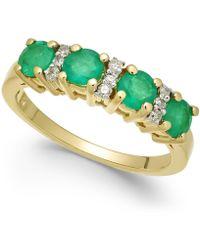 Macy's - Emerald (1-1/5 Ct. T.w.) & Diamond Ring (1/10 Ct. T.w.) In 14k Gold - Lyst
