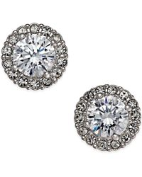 Danori - Silver-tone Framed Crystal Stud Earrings - Lyst