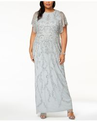 Adrianna Papell - Plus Size Beaded Flutter-sleeve Gown - Lyst