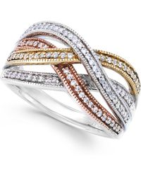 Macy's - Diamond Bypass Ring In Sterling Silver, 14k Rose Gold And 14k Gold (1/4 Ct. T.w.) - Lyst