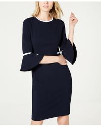 Calvin Klein - Piped Bell-sleeve Sheath Dress - Lyst