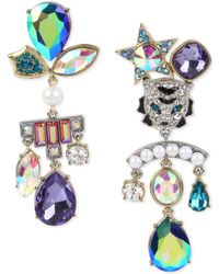 Betsey Johnson - Two-tone Tiger Crystal Stone & Imitation Pearl Cluster Mismatch Earrings - Lyst