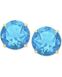 Macy's - Blue Topaz Stud Earrings (6-3/4 Ct. T.w.) In 14k Gold - Lyst