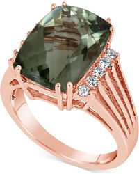 Macy's - Green Quartz (7 Ct. T.w.) & Diamond (1/5 Ct. T.w.) Ring In 14k Rose Gold - Lyst