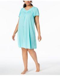 Miss Elaine - Plus Size Tricot Flutter Sleeve Short Gown - Lyst