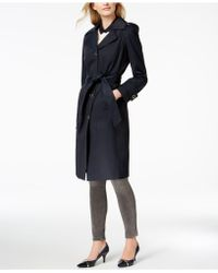 Anne Klein - Hooded Belted Maxi Trench Coat - Lyst