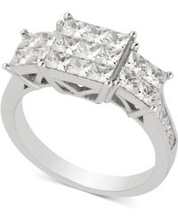 Macy's - Diamond Princess Cluster Engagement Ring (2 Ct. T.w.) In 14k White Gold - Lyst