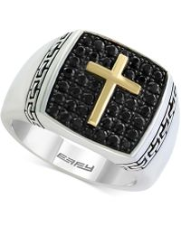 Effy Collection - Men's Black Sapphire Cross Ring (1-1/4 Ct. T.w.) In Sterling Silver And 18k Gold - Lyst