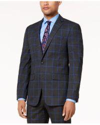 Sean John - Men's Charcoal Windowpane Slim-fit Jacket - Lyst