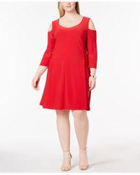 Love Scarlett - Plus Size Cold-shoulder Lace-up Dress - Lyst