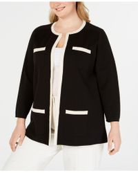 Anne Klein - Plus Size Tipped Patch-pocket Sweater - Lyst