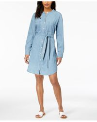 Eileen Fisher - Organic Cotton Mandarin-collar Shirtdress - Lyst