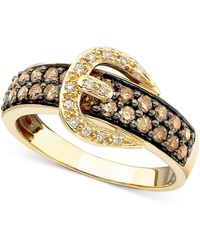 Le Vian - Chocolate Diamond (5/8 Ct. T.w.) And White Diamond Accent Buckle Ring In 14k Gold - Lyst