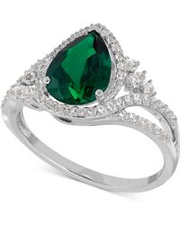 Macy's | Lab-created Emerald (1-3/4 Ct. T.w.) And White Sapphire (3/8 Ct. T.w.) Ring In Sterling Silver | Lyst