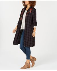 Style & Co. - Flower-embroidered Plaid Completer Shirt, Created For Macy's - Lyst