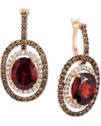 Le Vian - Chocolatier® Raspberry Rhodolite® Garnet (6 Ct. T.w.) And Diamond (1-1/3 Ct. T.w.) Earrings In 14k Rose Gold - Lyst