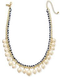 """Kate Spade - Gold-tone Cubic Zirconia & Imitation Pearl Woven Ribbon Collar Necklace, 18"""" + 3"""" Extender - Lyst"""