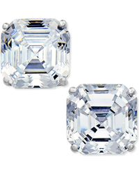 Arabella - Swarovski Zirconia Asscher Stud Earrings In 14k White Gold - Lyst