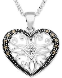 """Macy's - Marcasite & Crystal Openwork Heart 18"""" Pendant Necklace In Fine Silver-plate - Lyst"""