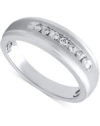 Beautiful Beginnings - Men's Diamond Wedding Band In Sterling Silver (1/5 Ct. T.w.) - Lyst