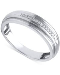 Beautiful Beginnings - Men's Diamond Accent Band In 14k White Gold - Lyst