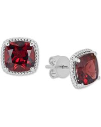 Macy's - Rhodolite Garnet Rope Frame Stud Earrings (8 Ct. T.w.) In Sterling Silver - Lyst