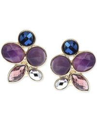 Jones New York - Gold-tone Faceted Jewel Stone Clip-on Earrings - Lyst
