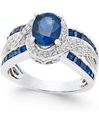 Macy's - Sapphire (2-3/4 Ct. T.w.) And Diamond (1/3 Ct. T.w.) Ring In 14k White Gold (also Available In Emerald & Ruby) - Lyst