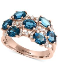 Effy Collection - London Blue Topaz (3-1/4 Ct. T.w.) & Diamond (1/4 Ct. T.w.) Ring In 14k Rose Gold - Lyst