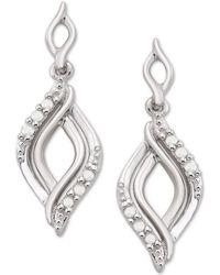 Macy's - Diamond Twist Drop Earrings (1/10 Ct. T.w.) In Sterling Silver - Lyst