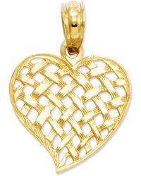 Macy's - 14k Gold Charm, Basket Weave Heart Charm - Lyst