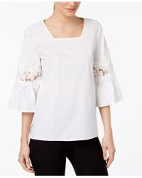 Calvin Klein - Flare-sleeve Lace Illusion Top - Lyst