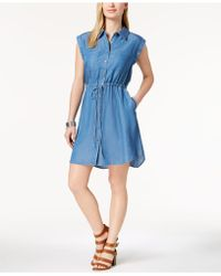 Style & Co. | Petite Denim Shirtdress, Created For Macy's | Lyst