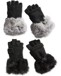Surell | Rabbit Fur And Knit Flip-top Texting Mittens | Lyst