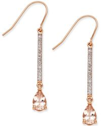 Macy's - Morganite (1-2/5 Ct. T.w.) And Diamond (1/8 Ct. T.w.) Linear Drop Earrings In 14k Rose Gold - Lyst
