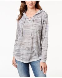 Style & Co. - Petite Lace-up Knit Hoodie, Created For Macy's - Lyst