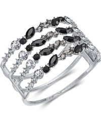 INC International Concepts - I.n.c. Silver-tone Black Crystal Cuff Bracelet, Created For Macy's - Lyst