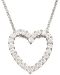 Macy's - Cubic Zirconia Heart Pendant Necklace In Sterling Silver - Lyst